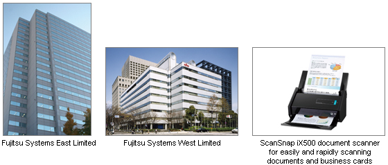 Three pictures; 1: Fujitsu Systems East Limited. 2: Fujitsu Systems West Limited. 3: ScanSnap iX500 document scanner for easily and rapidly scanning documents and business cards.
