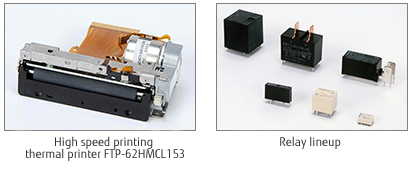 Two pictures; 1: High speed printing thermal printer FTP-62HMCL153 2: Relay lineup