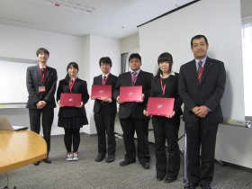 Picture: Hiroshima National College of Maritime Technology students who won the Fujitsu Special Prize at the Technical College 24th Programming Contest
