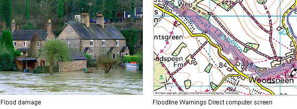Left: Flood damage, Right: Floodline Warnings Direct computer screen