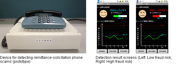 Left: Device for detecting remittance-solicitation phone scams(prototype), Right: Detection result screens (Left: Low fraud risk; Right: High fraud risk)