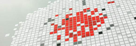 Abstract Image. Streams of red, white and grey squares