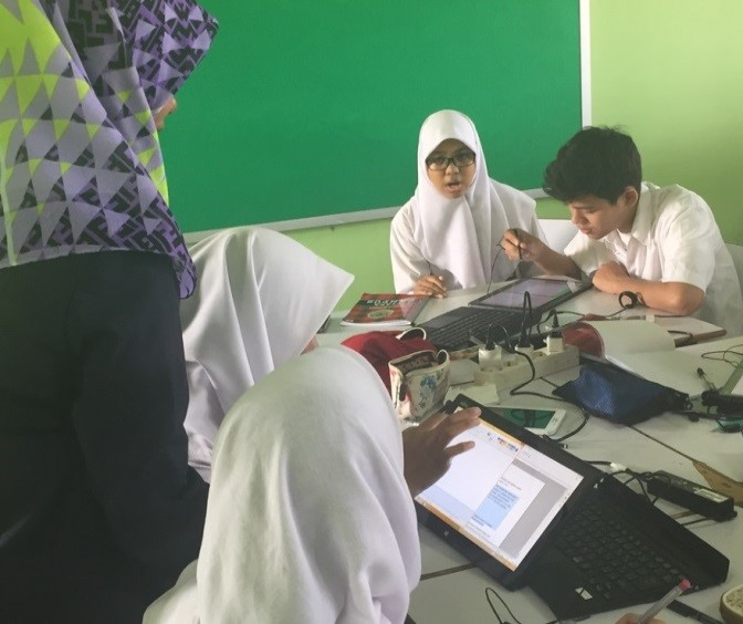 Students taking part in the field trial at SMA Negeri 74 Jakarta high school