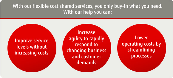 With our flexible cost shared services, you only buy-in what you need. With our help you can: Improve service levels without increasing cost. Increase agility to rapidly respond to changing business and customer demands. Lower operating costs by streamlining processes.