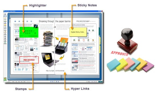 graphic demonstrating Rack2 Filer sticky notes and highlighter features