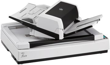 fi-6770  features a flatbed for scanning material such as books...