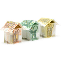 Photograph of a paper houses made from Euro bank notes