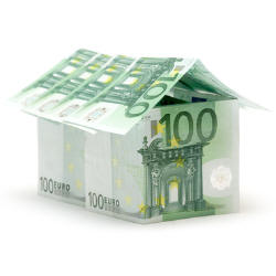 Photograph of a paper house made from Euro bank notes