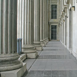 Photograph of pillars outside a courtroom