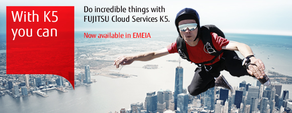 Photo of a person skydiving. Do incredible things with Cloud Service K5. Now available in EMEIA.