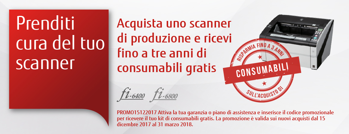 Buy a Fujitsu Production Scanner and get up to three years' of free consumables