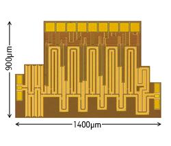 55-nm DDC CMOSプロセスを用いた0.5V動作W帯増幅回路のチップ写真