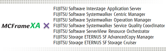 MCFrame XAとSystemwalker Centric Manager, Systemwalker Operation Manager, Systemwalker Service Quality Coordinator, Interstage Application Server, ServerView Resource Orchestrator, ETERNUS SF AdvancedCopy Manager, ETERNUS SF Storage Cruiserによる連携ソリューション