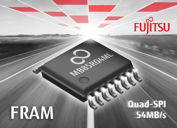 Fujitsu FRAM MB85RQ4ML Quad-SPI with 54 MB/s.