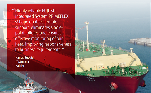 """Highly reliable Fujitsu integrated system Primeflex vShape enables remote support, eliminates single-point failures and ensures effective monitoring of our fleet, improving responsiveness to business requirements."" Hamad Suwaid, IT Manager, Nakilat."