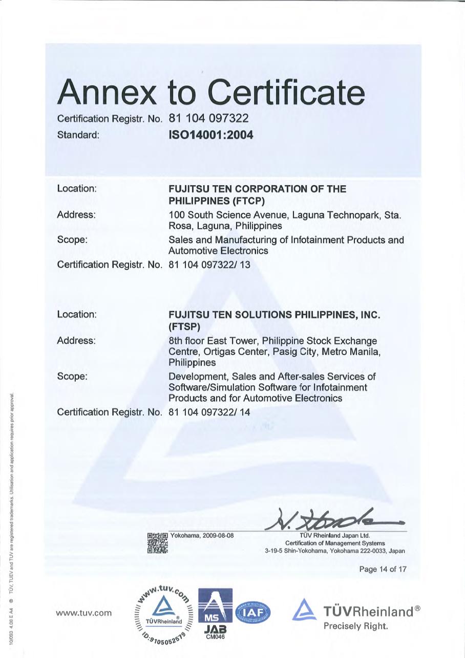 Iso14001 certification fujitsu philippines certificate xflitez Choice Image