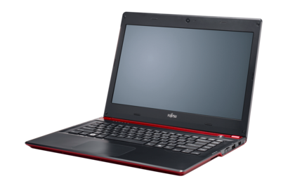 LIFEBOOK UH572 (red), right side, with reflection