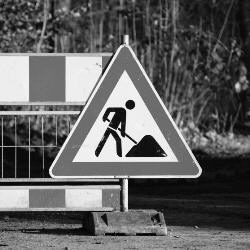Photograph of 'road works' sign