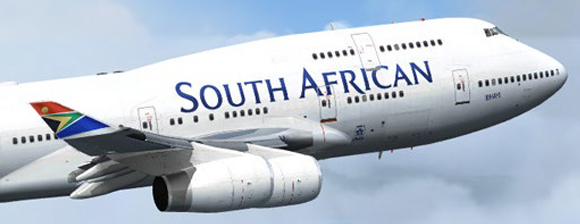 South African Airways Plane flying