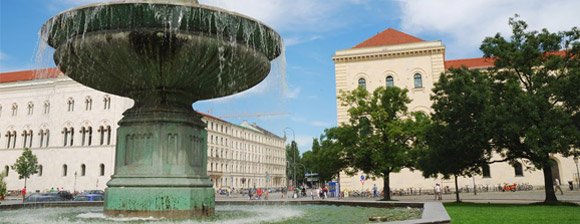 Ludwig-Maximilians-University fountain and buildings