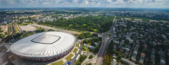 Aerial photograph of the National Stadium in Warsaw
