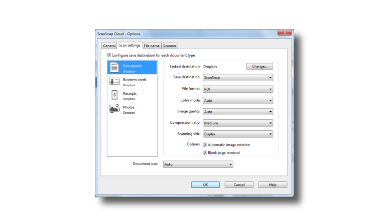 SSC Options Dialog - Scan Settings