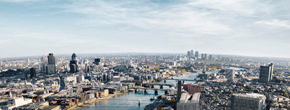 City view of London with the River Thames running through the middle