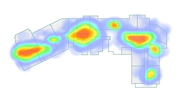 Heat mapping for smart shoppong malls