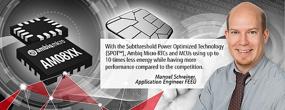 Ambiq Micros & RTCs combine high performance with ultra-low power consumption