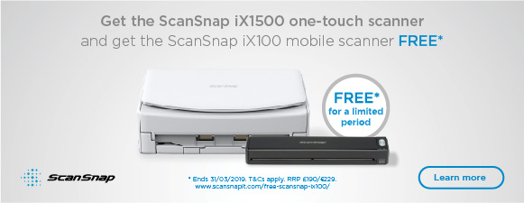 Buy the ScanSnap iX1500 and get a FREE ScanSnap iX100 worth £190 before 31st March 2019