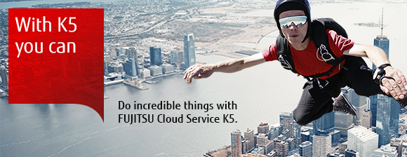 Photo of a person skydiving. Do incredible things with Cloud Service K5.