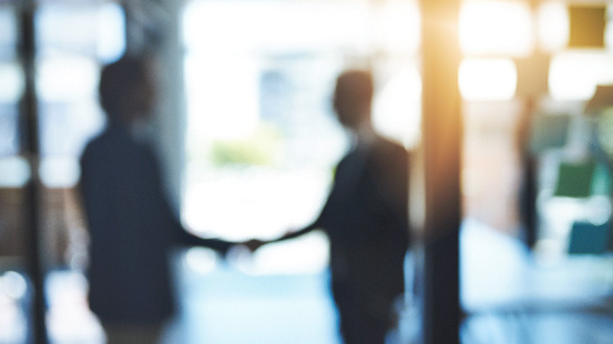 2 blurred and silhouetted figures shaking hands
