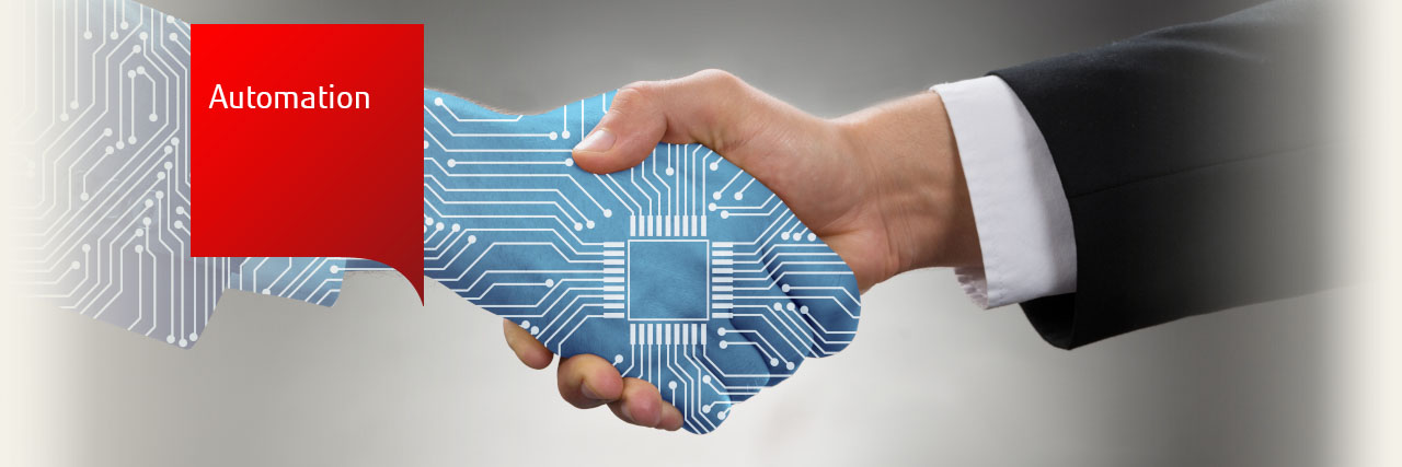 Photo of a a handshake, one hand has a circuitry overlay