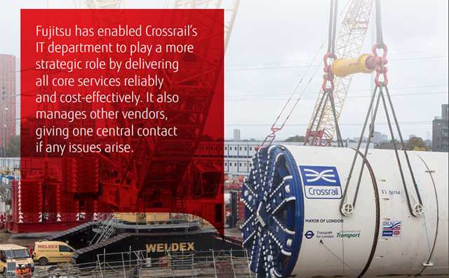 """Fujitsu has enabled Crossrail's IT department to play a more strategic role by delivering all core services reliably and cost effectively. It also manages other vendors, giving one central contact if any issues arise."""