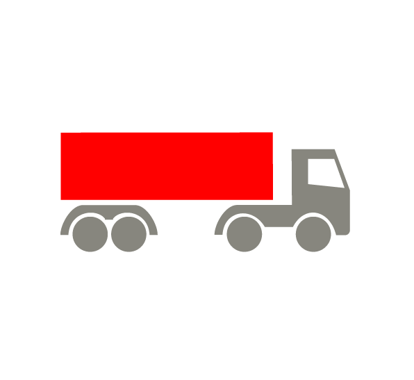 icon, truck with a red container