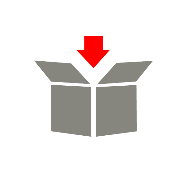Icon, open box with a red arrow entering